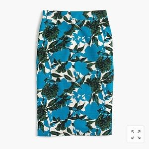 J.Crew pencil skirt with ocean blue floral prints